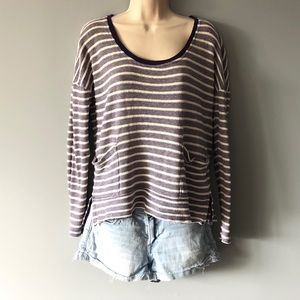 Roxy Navy & White Striped Oversized Top Size Small